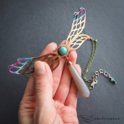 Art Nouveau inspired copper dragonfly necklace with natural turquoise and agate – krupkowska.com