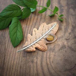 seria botaniczna: broszka w kształcie liścia dębu - krupkowska.com