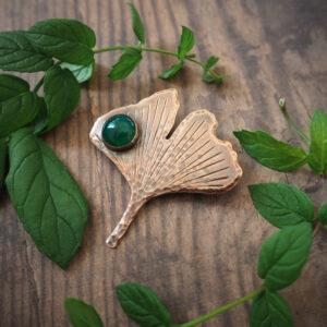 seria botaniczna: broszka w kształcie liścia miłorzębu - krupkowska.com