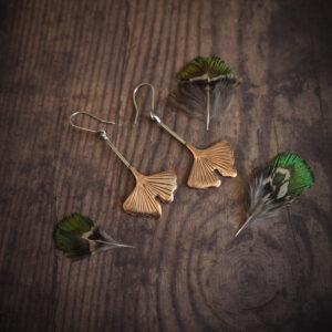 seria botaniczna: kolczyki z liśćmi miłorzębu - krupkowska.com