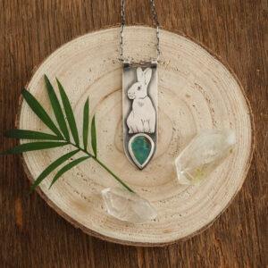 królik z turkusem - srebrny naszyjnik z kolekcji Woodland Stories