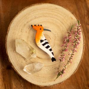 dudek - emaliowana broszka z ptakiem