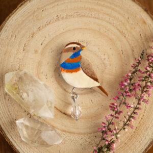 podróżniczek - emaliowana broszka z ptakiem