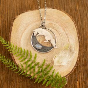 lis księżycowy - srebrny naszyjnik z kamieniem księżycowym krupkowska.com