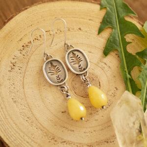 nawłoć C - długie kolczyki ze srebra z jadeitem | krupkowska.com