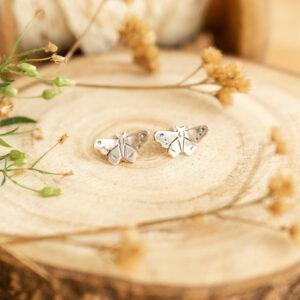 motylki d2 - srebrne kolczyki sztyfty | krupkowska.com