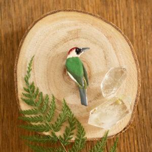 dzięcioł zielony - emaliowana broszka z kolorowym ptakiem